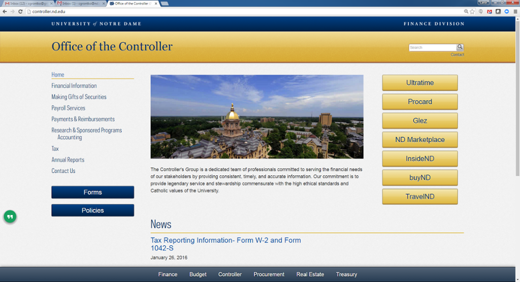 Office of the Controller Website