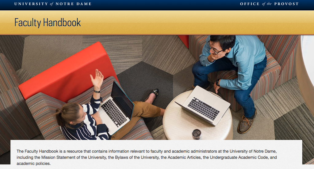 The Faculty Handbook homepage--which features a large photo at top of two people talking followed by a series of searchable links--is where the Academic Articles are located.
