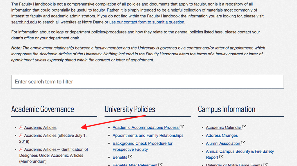 The section of the Faculty Handbook homepage where you can find the link to the Academic Articles (indicated by a red arrow).