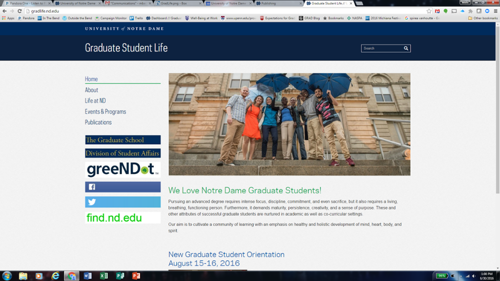 homepage for graduate student life website