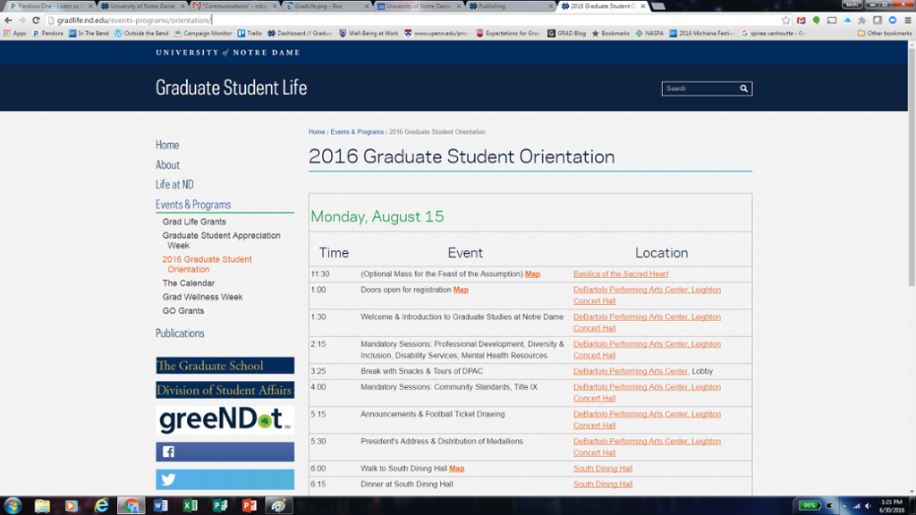 schedule for 2016 new graduate student orientation