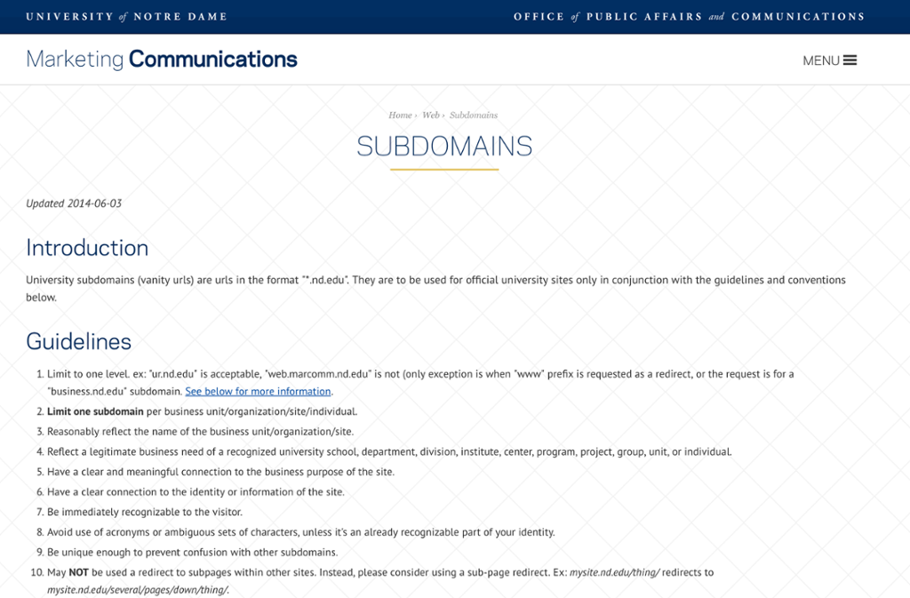 Desktop view of the Marcomm website