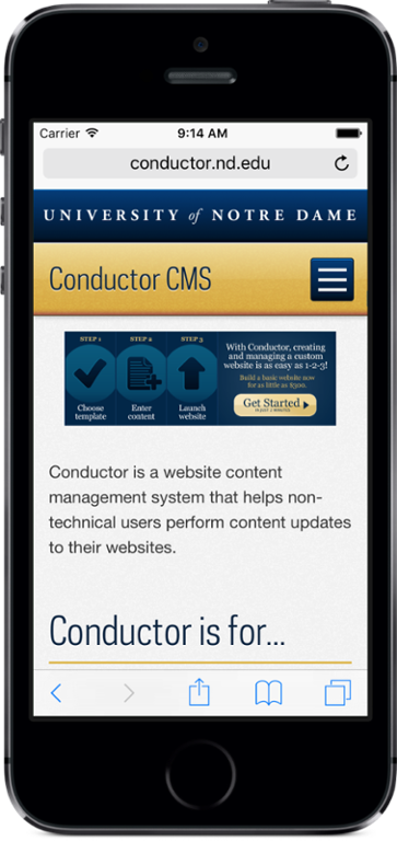 Mobile view of the Conductor website