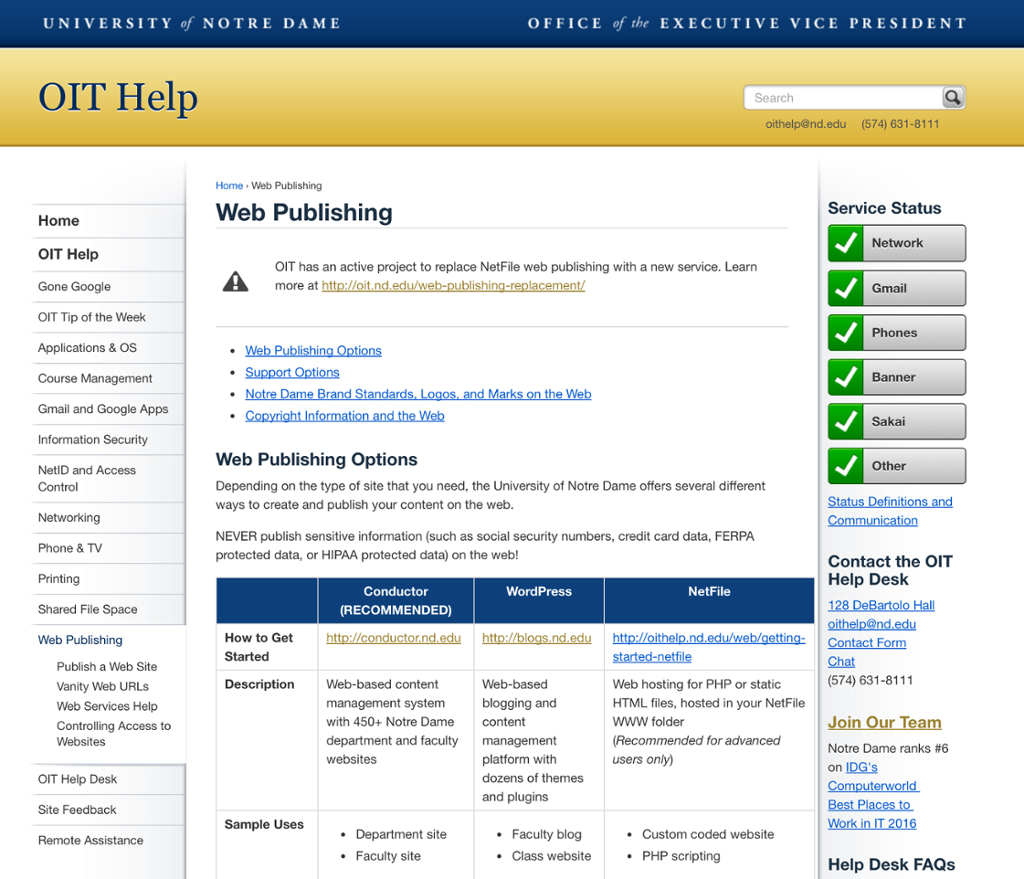 Desktop view of the OIT request a website page
