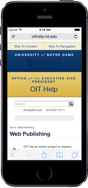Mobile view of the OIT request a website page